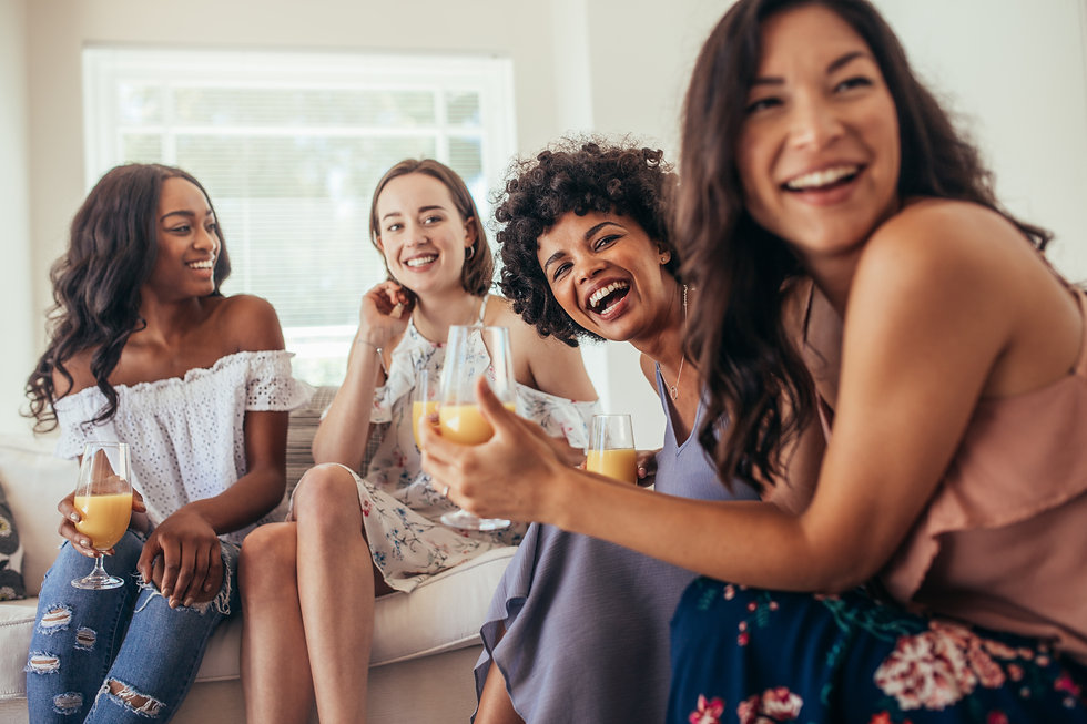 Diverse group of female friends enjoying