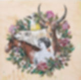 Polly Morwood Woodland Creature Painting on wood collaboration