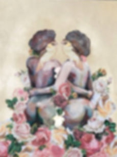 Polly Morwood Nude Sisters Collage Painting