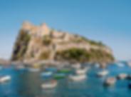 Almalfi Coast image with boats and a lar