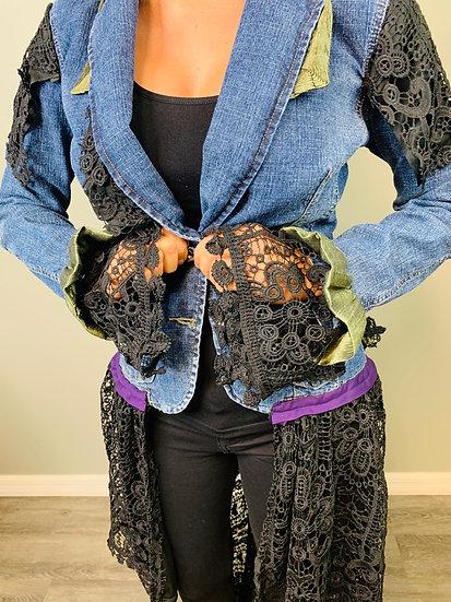 Upcycled Princess Black Laced Jean Jacket