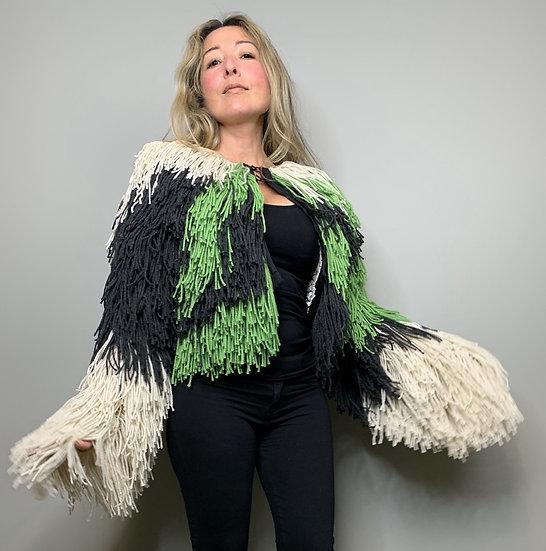 Green and Black Fringe Jacket