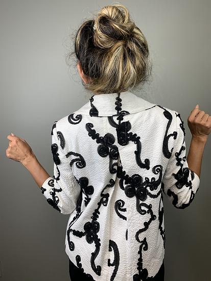 Unique Black and White Crop Jacket