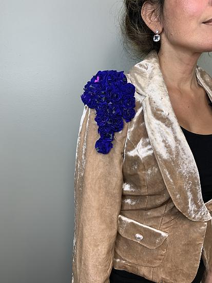 Stunning Bebe Upcycled Velvet Rose Gold Suit Jacket