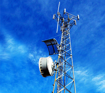 Self-support tower with microwave dish and antennas