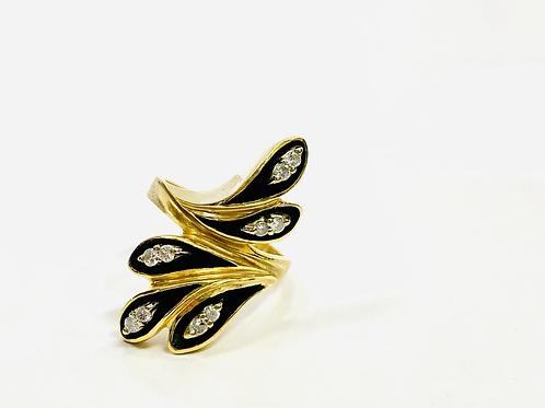 Vintage Diamond and Enamel Ring