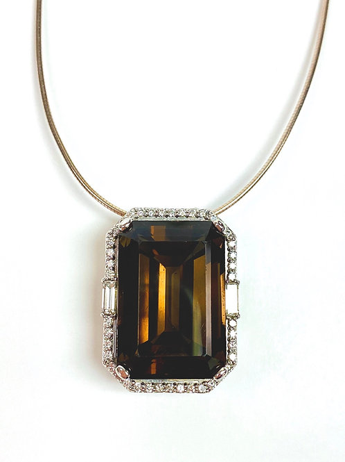 Stately Topaz and Diamond Pendant