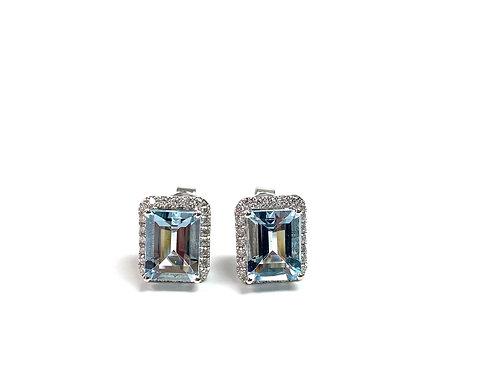 Aquamarine and Diamond Studs