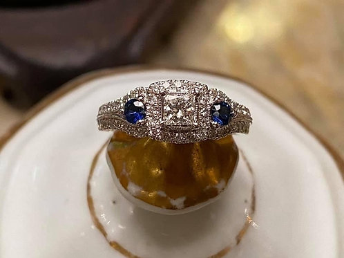 Diamond and Sapphire Engagement