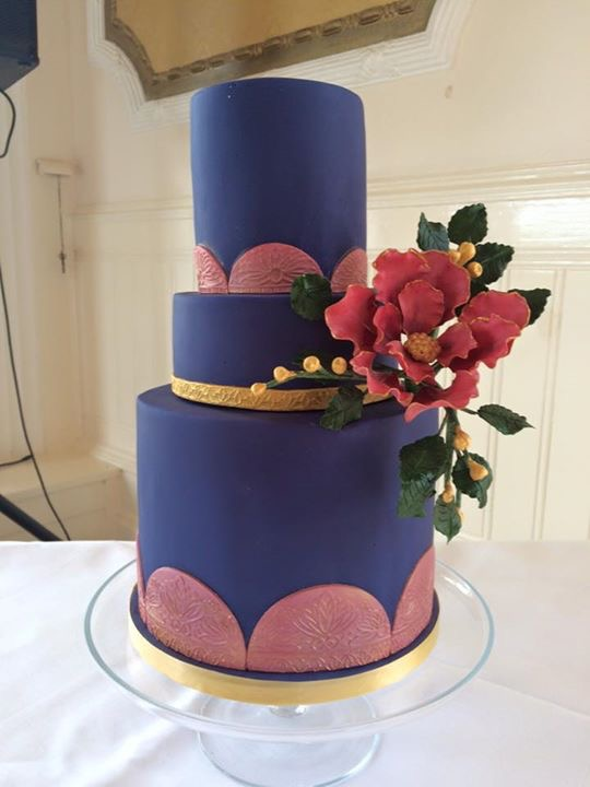 navy pink wedding cake