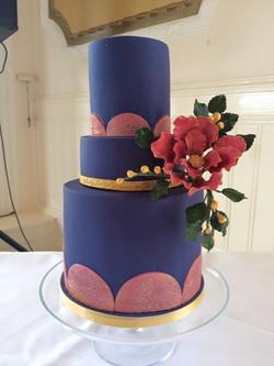 navy pink wedding cake