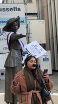 Nasima Begum reading her poem