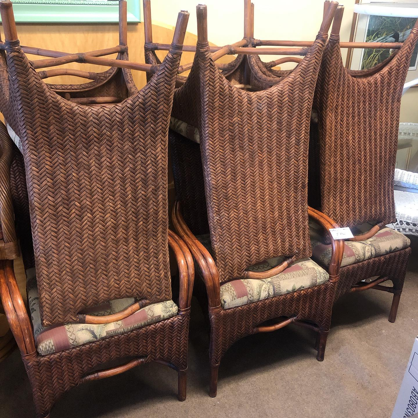 set 4 non armed wicker chairs