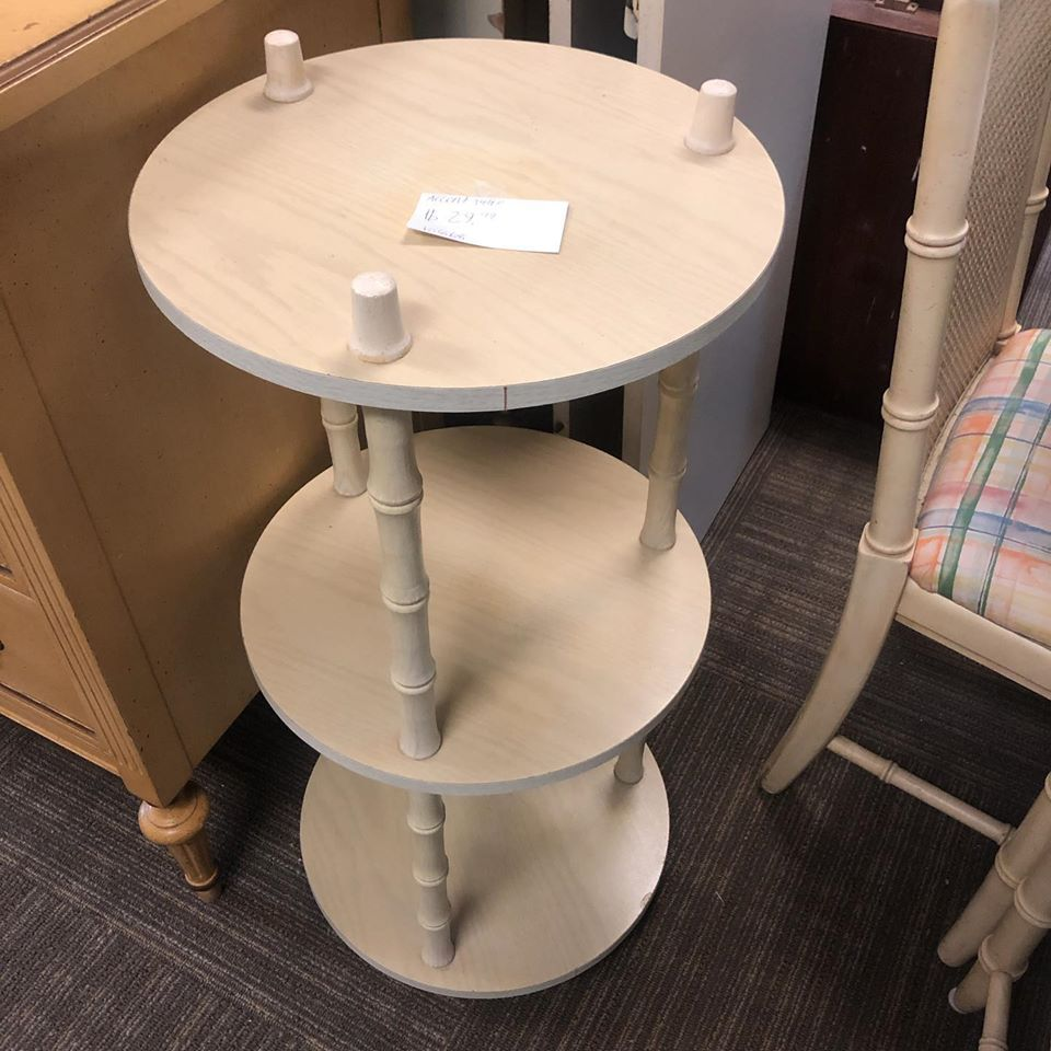 3 tier blonde accent table