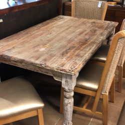rustic wood dining set 6 chair