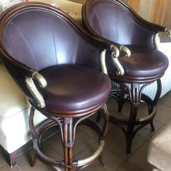 3 Leather arm swivel stools
