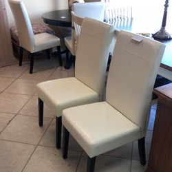 set 4 leather parson chairs