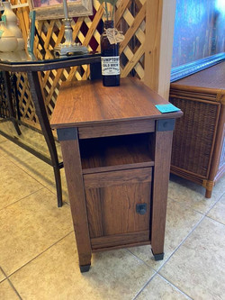 Industrial Narrow End Table with cabinet