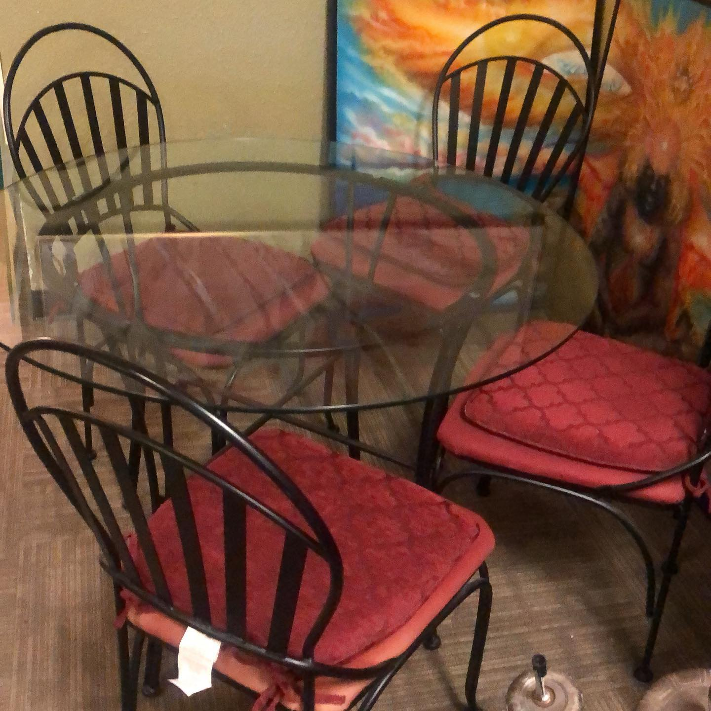 42 round metal patio set