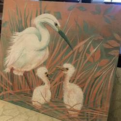 Egret Sand art on canvas