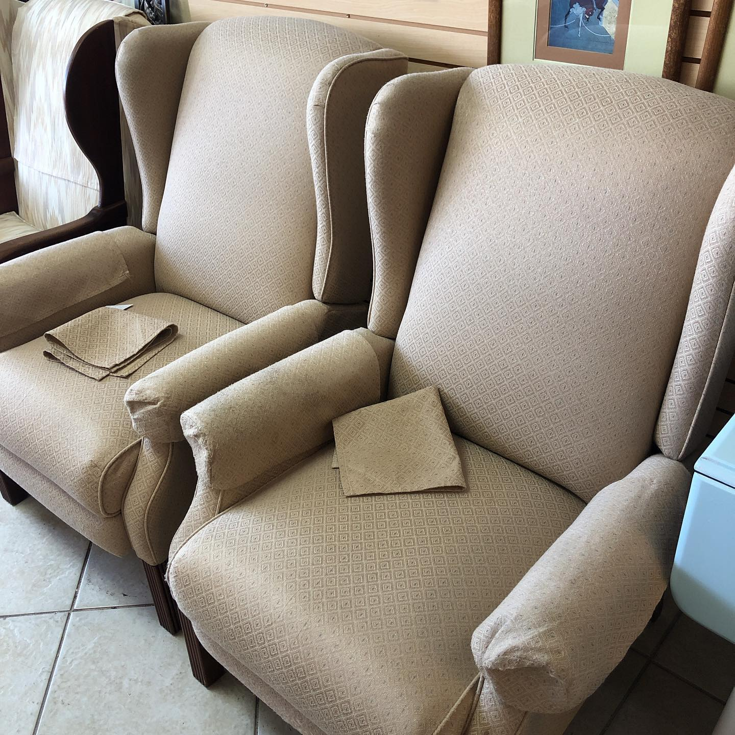 Pair Winged Back Recliners