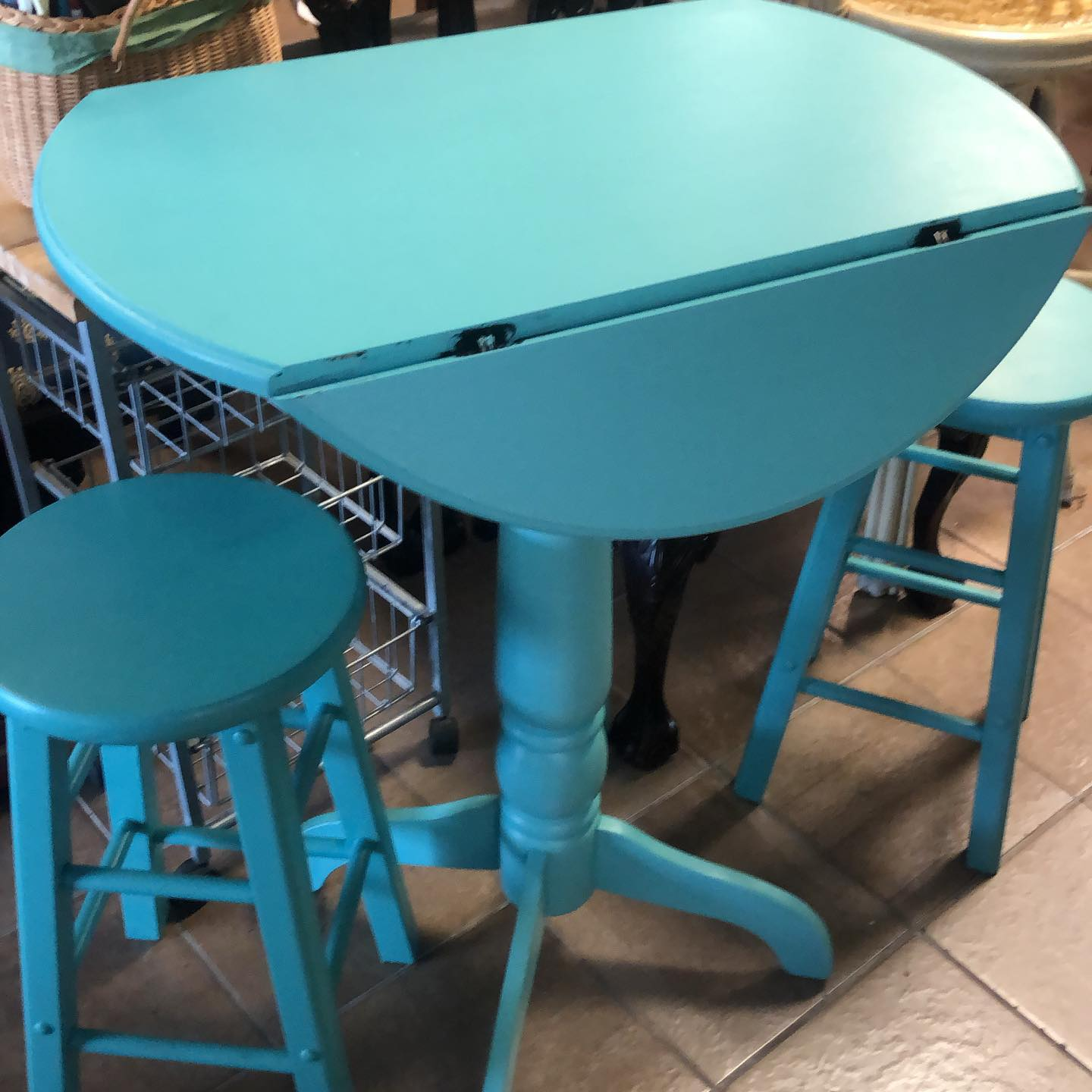 counter height dropleaf table teal
