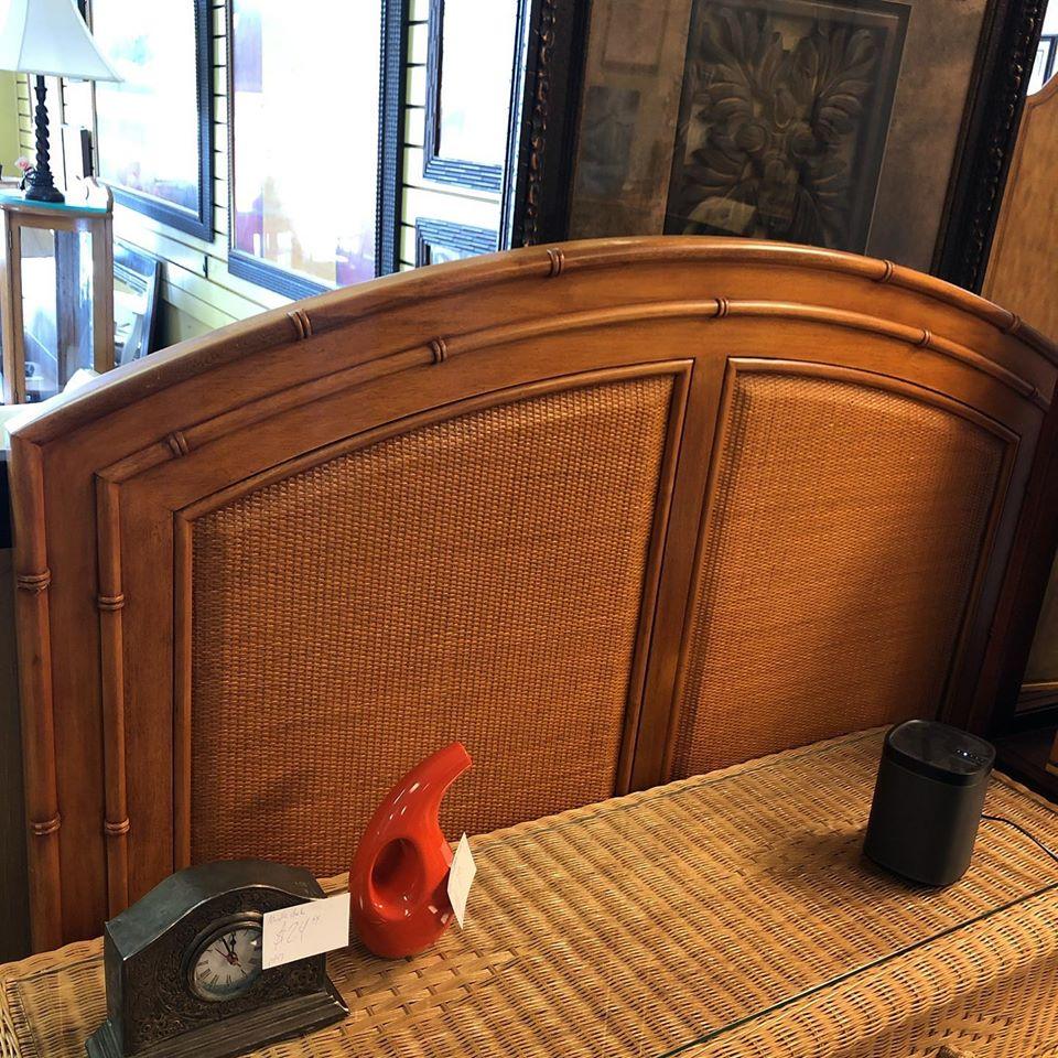 Woven inlay queen headboard