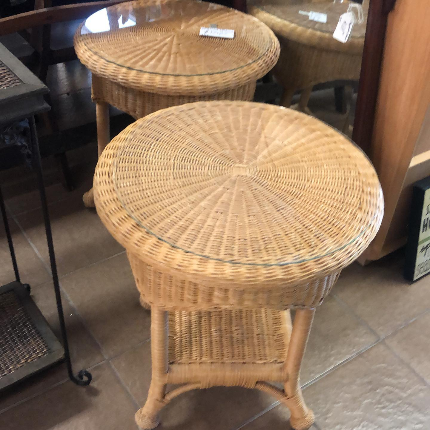 pair wicker end tables glass top