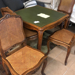 Circa 1869 cained chairs with card table