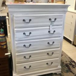 Grey White 5 drawer chest