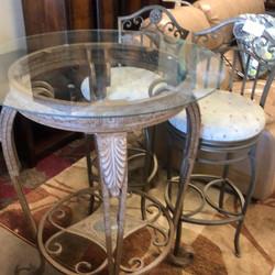tuscan style metal pub table - 2 stool
