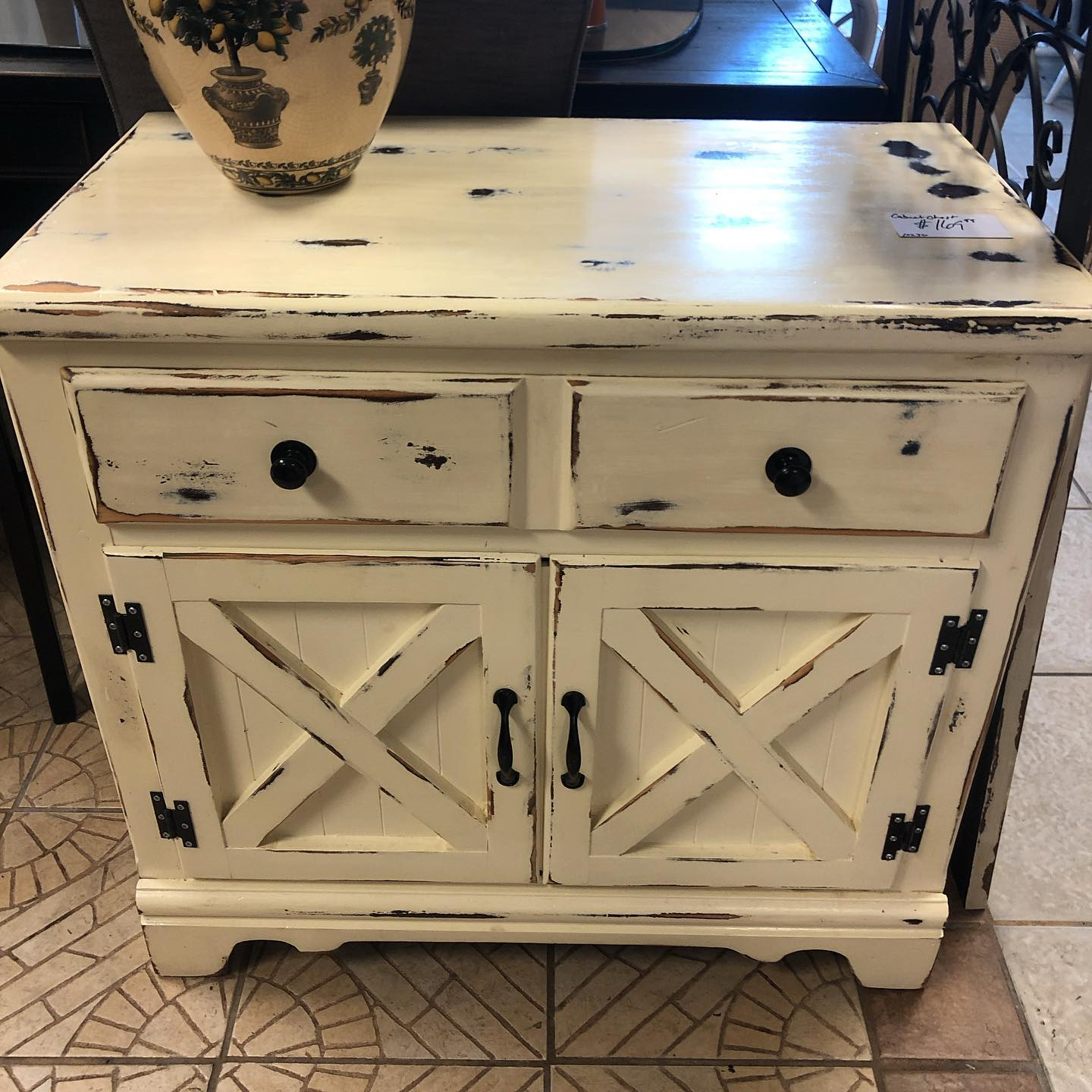 distressed 36 inch cabinet
