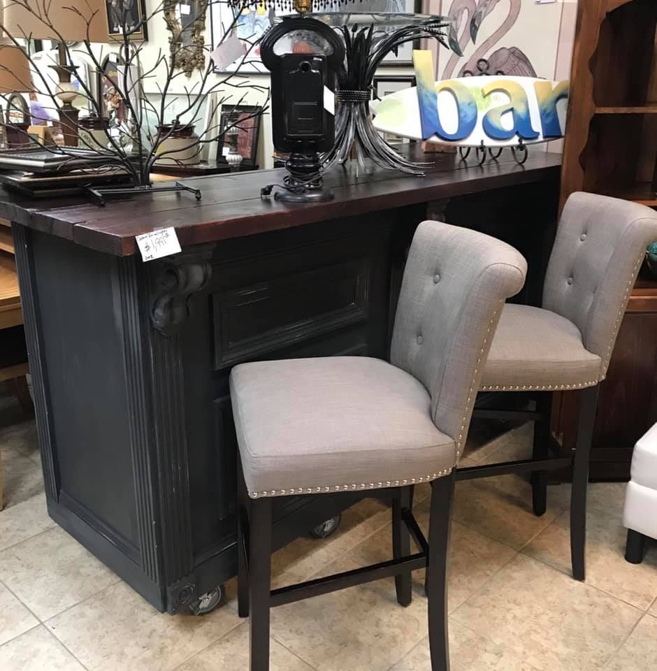 Upholstered Buttoned Bar Stool Pair