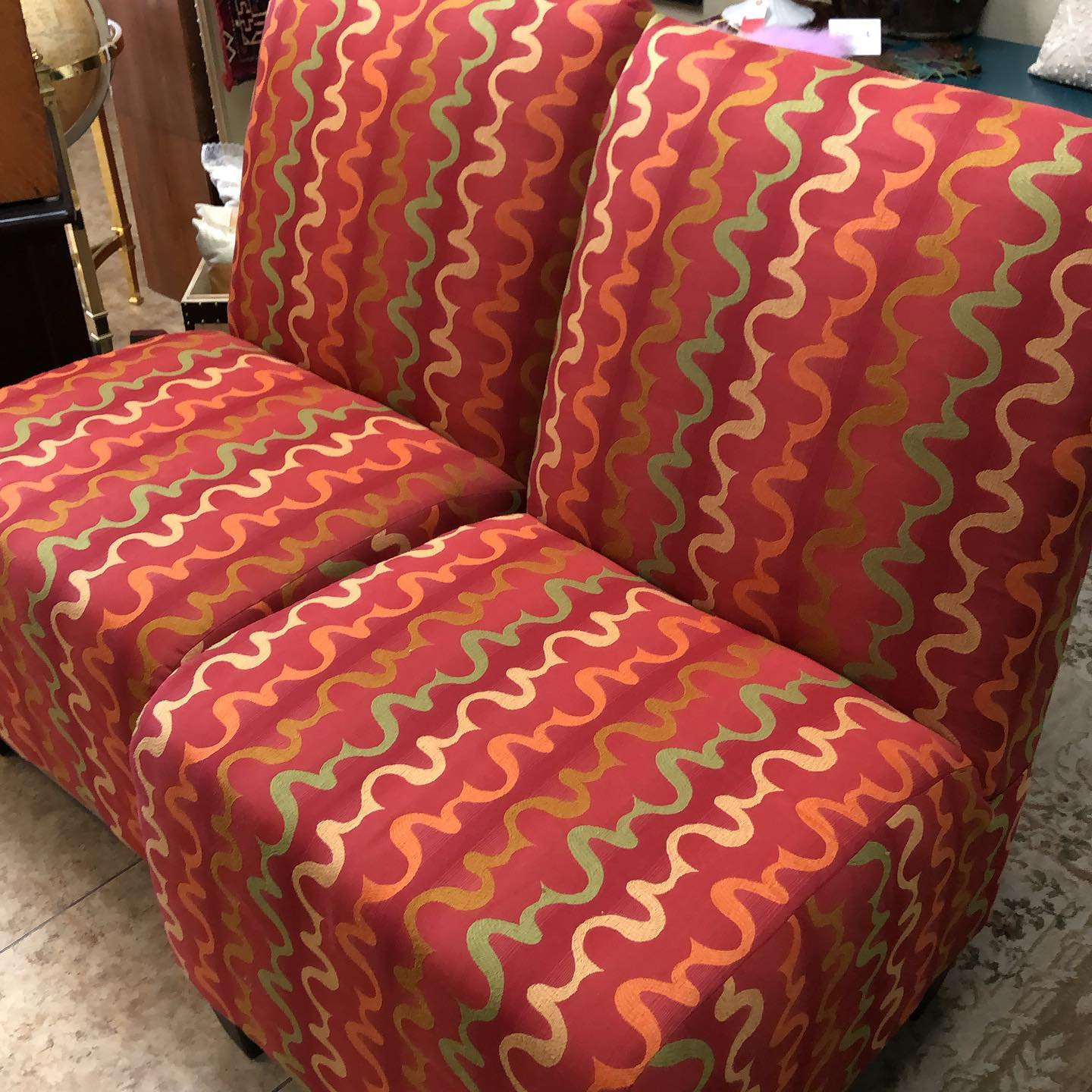 pair oversized occasional chairs