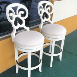 Pair 30inchOff White Swivel Stools
