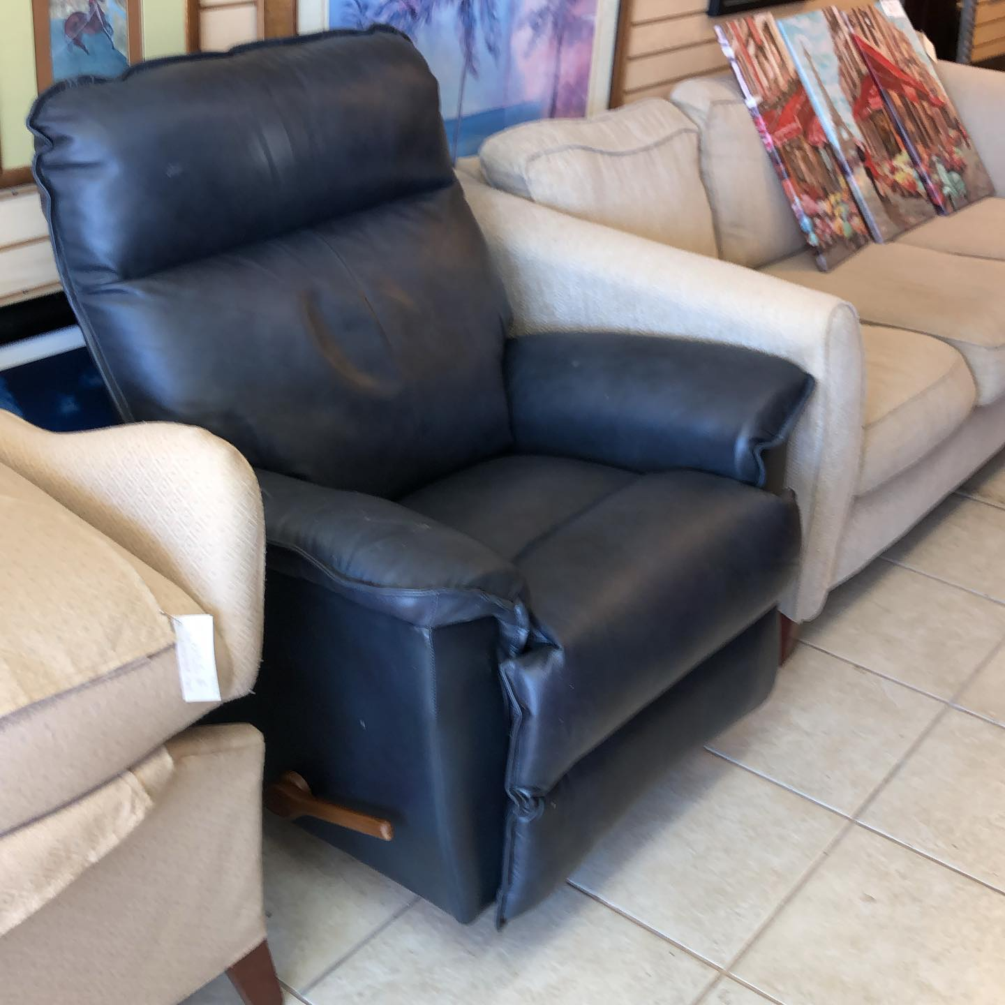 leather blue grey recliner