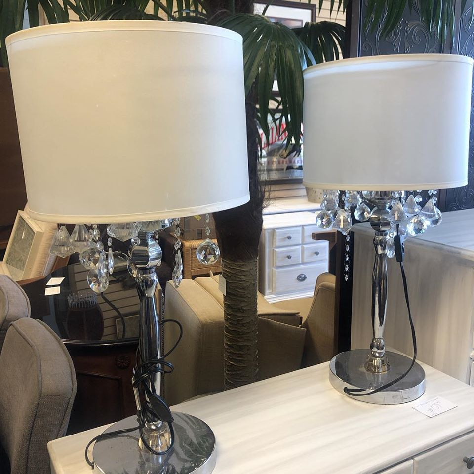 crystal tassled buffet lamps