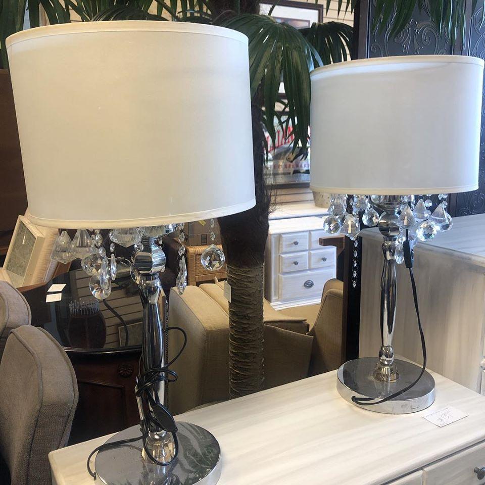 crystal tassled buffet lamps