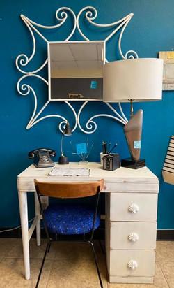 Mid Centrury 3 drawer white desk