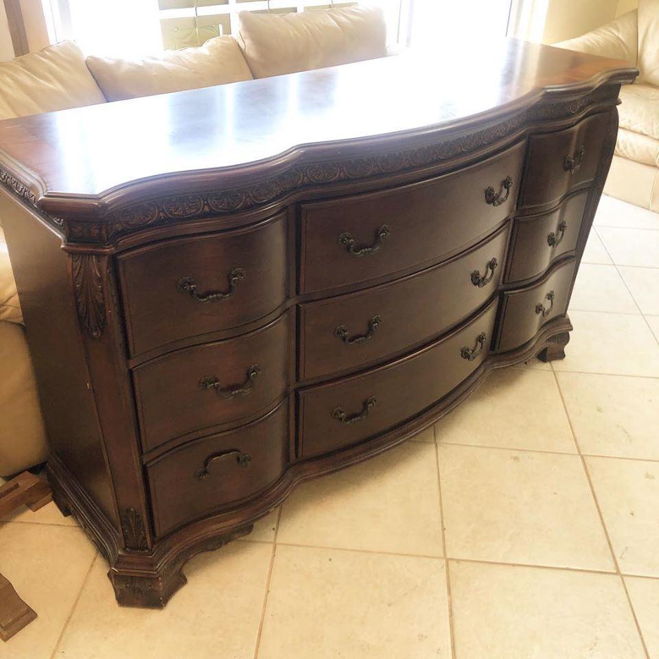 9 drawer dark wood dresser