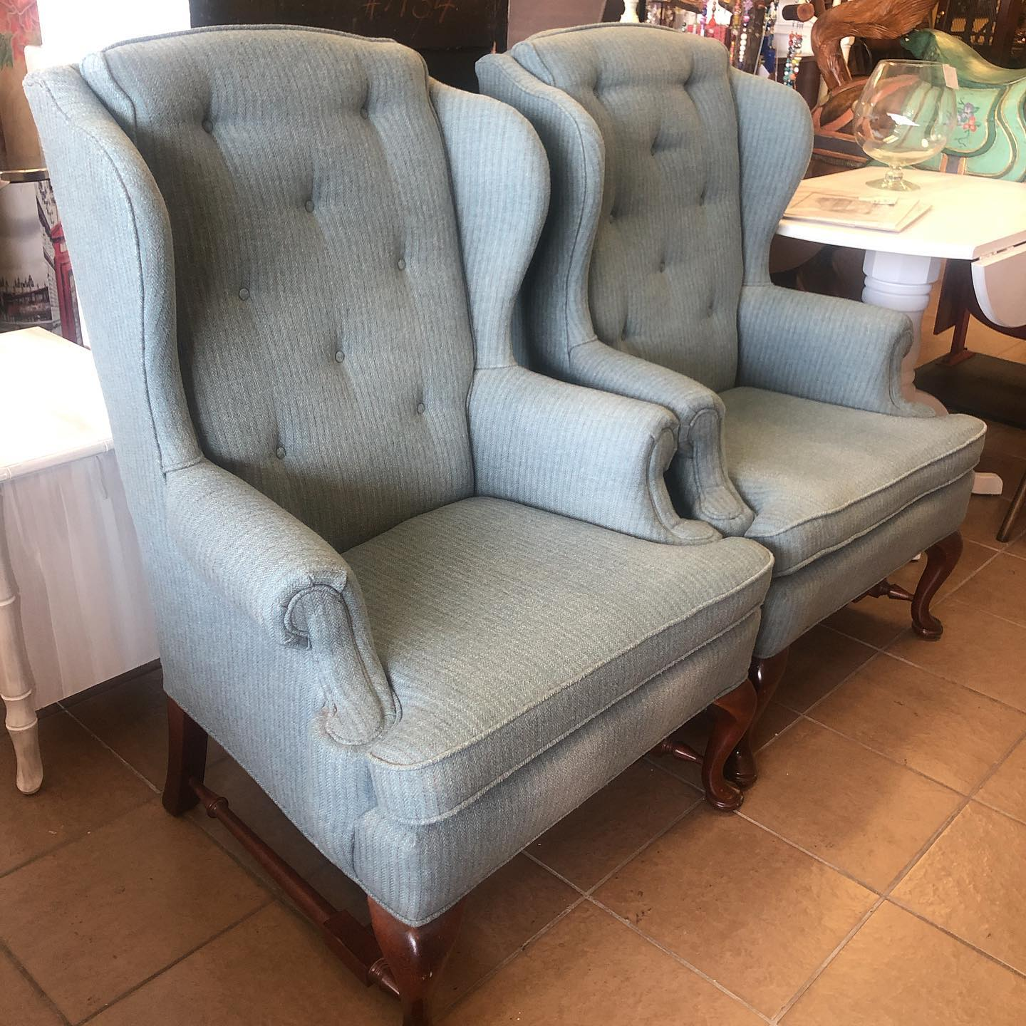 Pair Ethan Allen blue-grey winged backs.