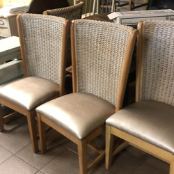 4 Pottery Barn rush tall back chairs