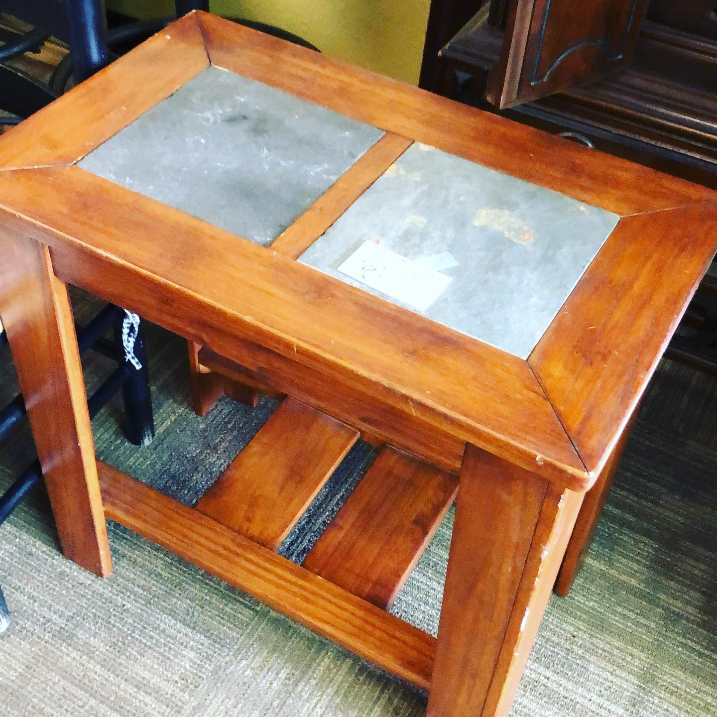 slate-wood end table