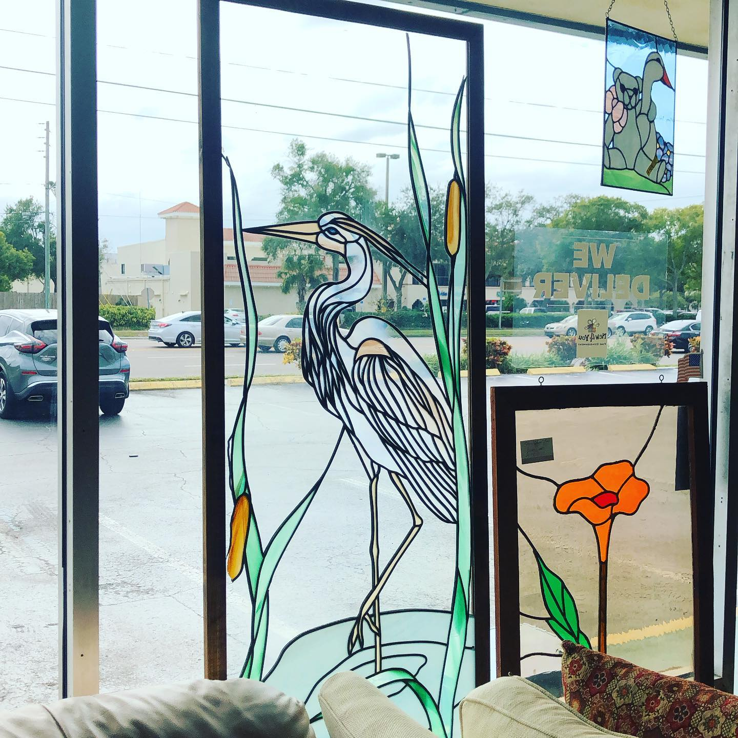 stained glass custom blue heron 24x51