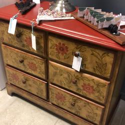 Stenciled 6 drawer chest