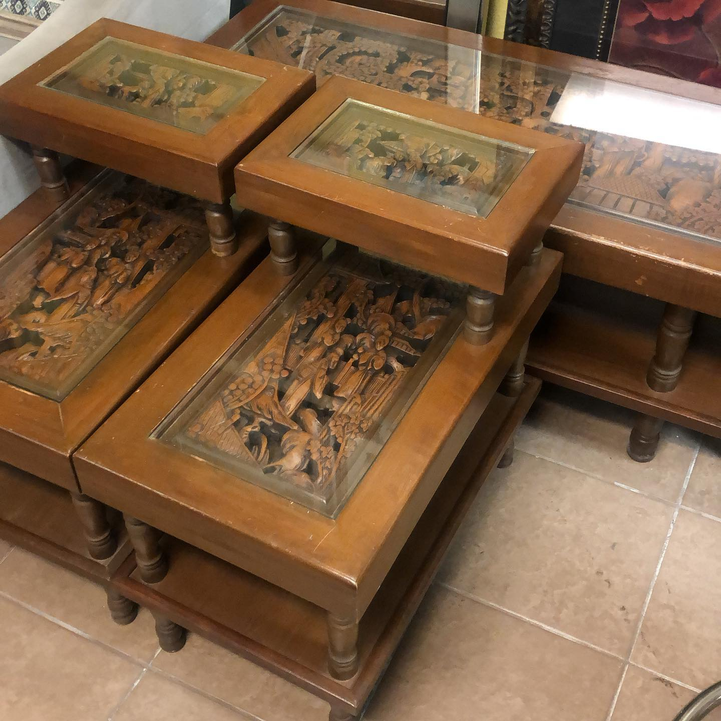 Lexington Carved Asian 3pc table set