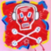 teddy m contemporary art skull painting headphones red