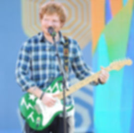 Ed Sheeran playing Green T art guitar by teddy m contemporary artist x multiply tour 2015