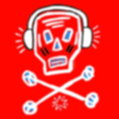 teddy m contemporary art ipad painting skull wearing headphones red