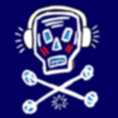 teddy m contemporary ipad painting skull wearing headphones blue